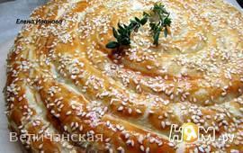 Слоёный пирог с форелью и картофелем