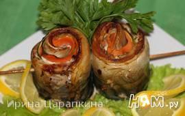 Рулетики из скумбрии с цукини и морковкой