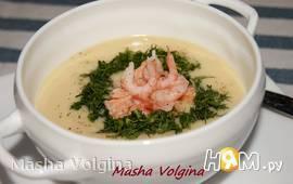 Крем-суп с сёмгой и креветками