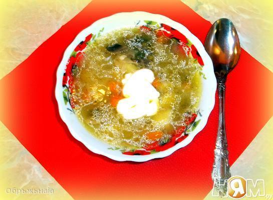 Рецепт Грибные щи из квашеной капусты