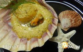Морские гребешки и мидии под лимонным соусом