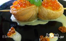 Гребешки с сёмгой под апельсиновым соусом
