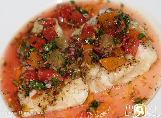 Рецепт Запеченая треска с цитрусово-имбирной сальсой