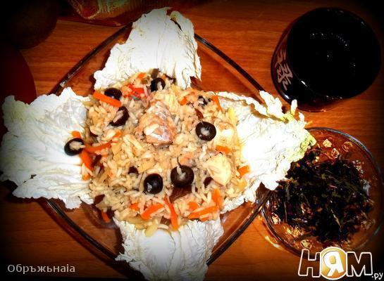 Быстрый рис с консервированным тунцом а-ля паэлья