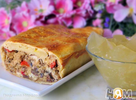 Рецепт Скумбрия с овощами и грибами, запеченная в тесте