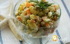 """Салат с кальмарами и овощами """"Морской дьявол"""""""