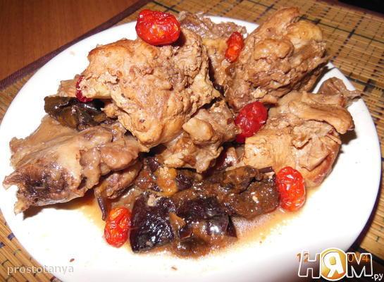 Рецепт Кролик в красном вине с черносливом