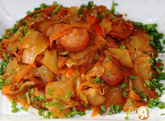 Рецепт Солянка из капусты с сосисками