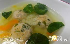 Суп с фрикадельками из сёмги и шпинатом