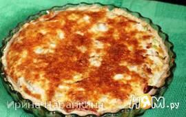 Лотарингский пирог с курицей, пореем и беконом