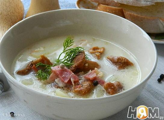 Сырный суп с лисичками и беконом