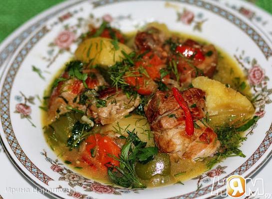 Овощное рагу со свиной грудинкой