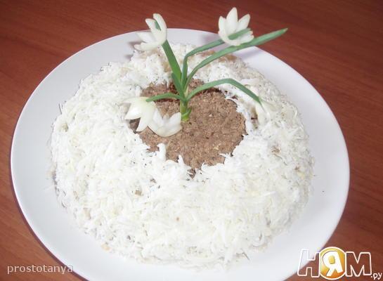 """Салат """"Проталинка"""" с говяжьей печенью"""