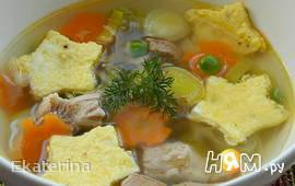 Суп из индейки с омлетом
