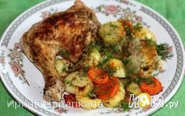 Запеченые куриные окорочка с картофельным гарниром