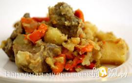 Рагу из телятины с овощами в мультиварке