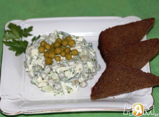 Рецепт Салат из горошка, свежего огурца и яиц