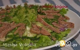 Салат с зелёной редькой и говядиной