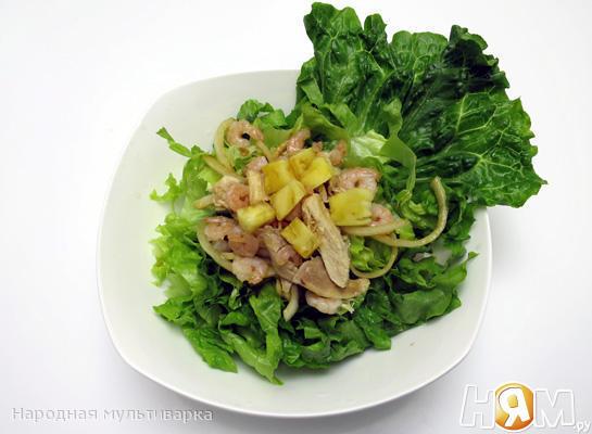 Тайский салат с креветками в мультиварке