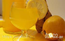 Напиток с имбирем, лимоном и куркумой