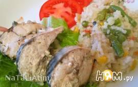 Скумбрия с рисом и овощами