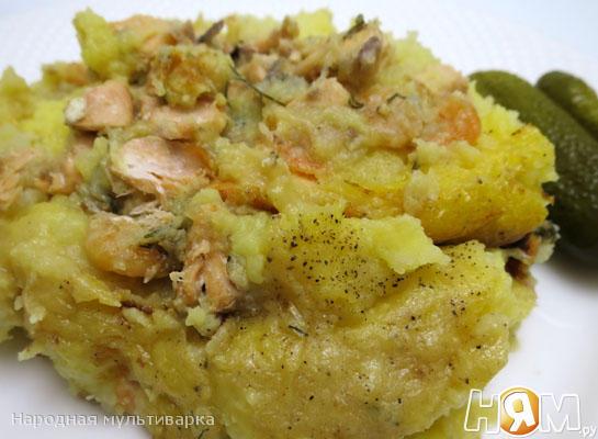 Рецепт Картофельное пюре с лососем в мультиварке