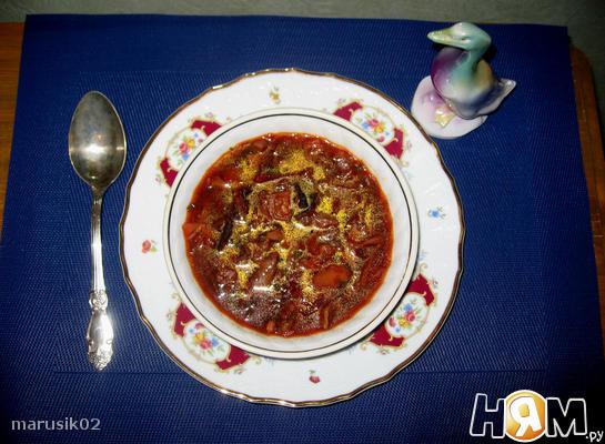 Рецепт Грибной борщ с черносливом (постный)