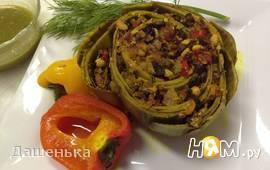 Артишок запеченный, фаршированный грибами