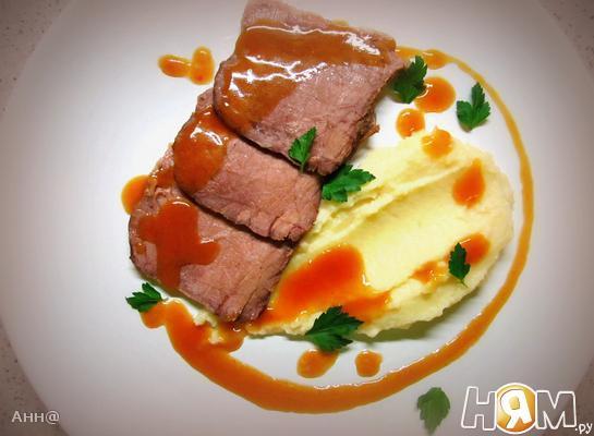 Рецепт Ростбиф с мясным соусом и пюре из сельдерея