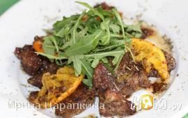 Куриная печень тушеная по-итальянски с апельсином
