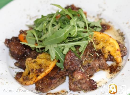 Рецепт Куриная печень тушеная по-итальянски с апельсином
