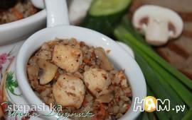 Гречневая каша с мясом и грибами в духовке
