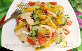Постный салат с фасолью лима