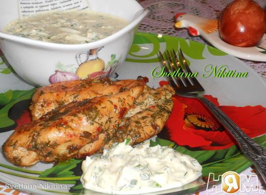 Курица с яичным соусом