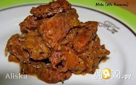 Мясо с киви и луком