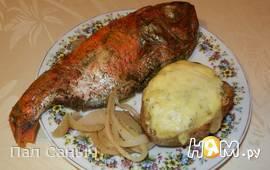 Морской окунь с картофелем под сырной шапкой