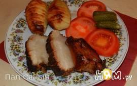 Копченая грудинка с запеченым картофелем и овощами