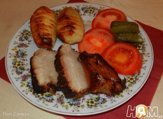 Рецепт Копченая грудинка с запеченым картофелем и овощами