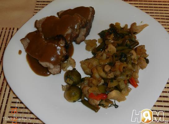 Рецепт Свиная шея под соусом а-ля-Наршараб с овощами