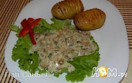 Запеченый картофель с лисичками в сырном соусе
