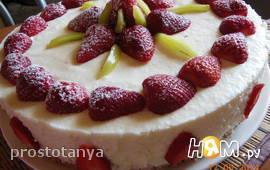 Бисквитный торт с творожно - сливочным муссом
