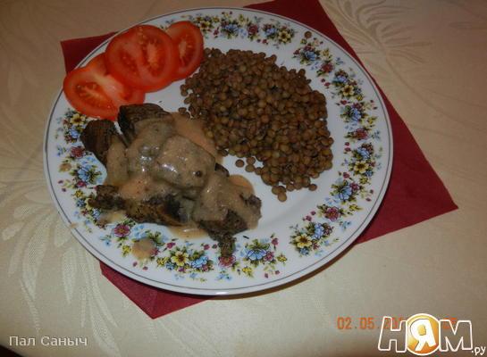 Рецепт Гуляш на пару с зеленой чечевицей