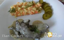 Свиное сердце с морковно-картофельным пюре