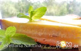 Творожный пирог с лимоном и мятой