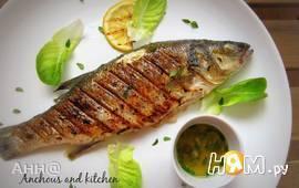 Сибас-гриль с чесночно-лимонным маслом