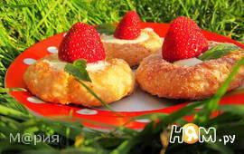 Творожное печенье с клубникой
