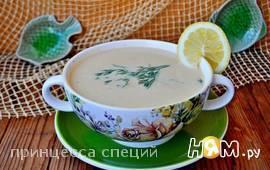 Суп-пюре с красной рыбой, картофелем и укропом