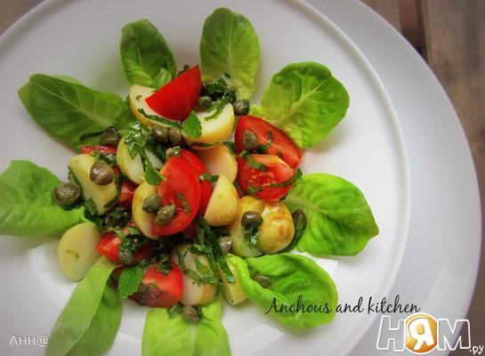 Рецепт Салат из молодого картофеля с каперсами и мятой