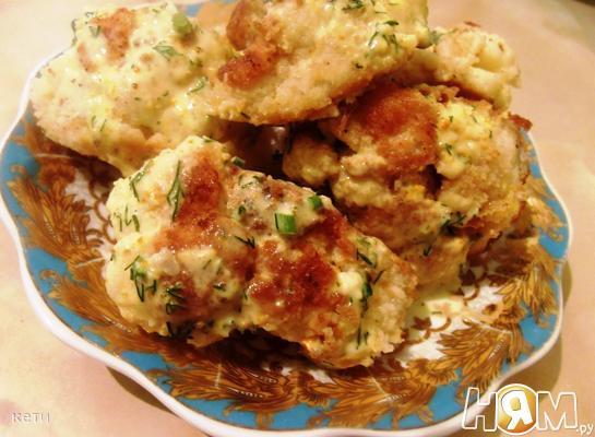 Рецепт Цветная капуста под соусом майонез с зеленью