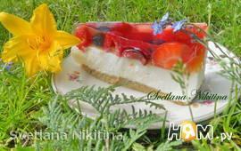 Чизкейк  с фруктами и желе